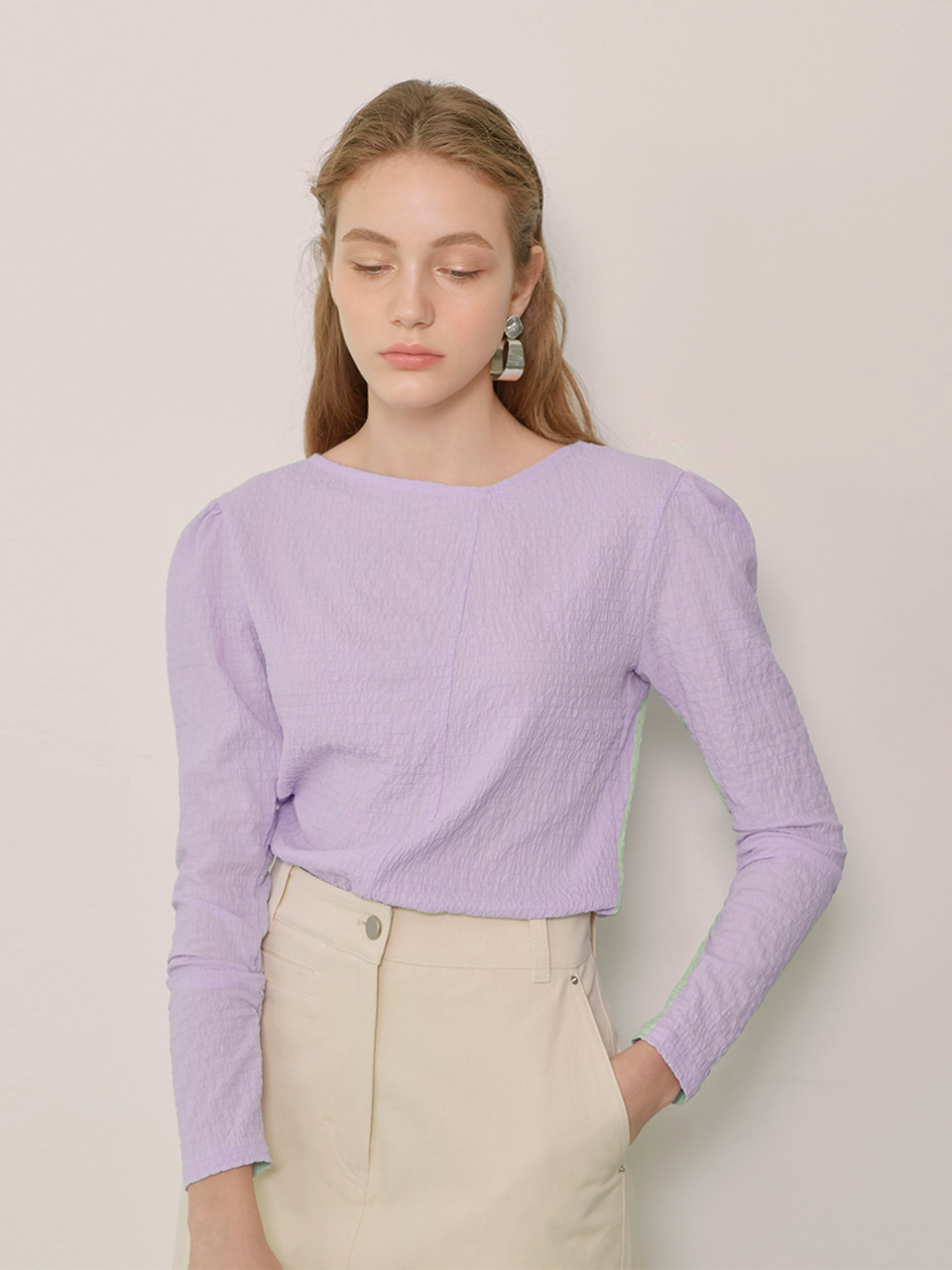 DARIA_Unblanced Neck Blouse_Lavender