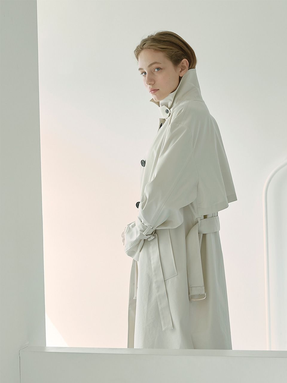 [Low in stock]MIA_Single Breasted Long Trench Coat_Cream