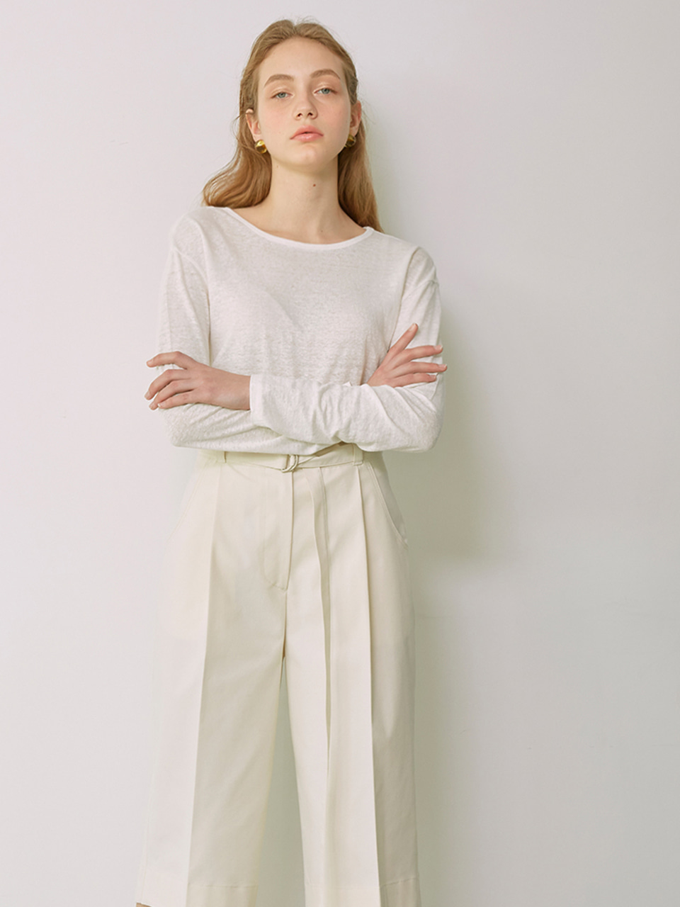 SIA_Linen Long Sleeved T-Shirt_Ivory