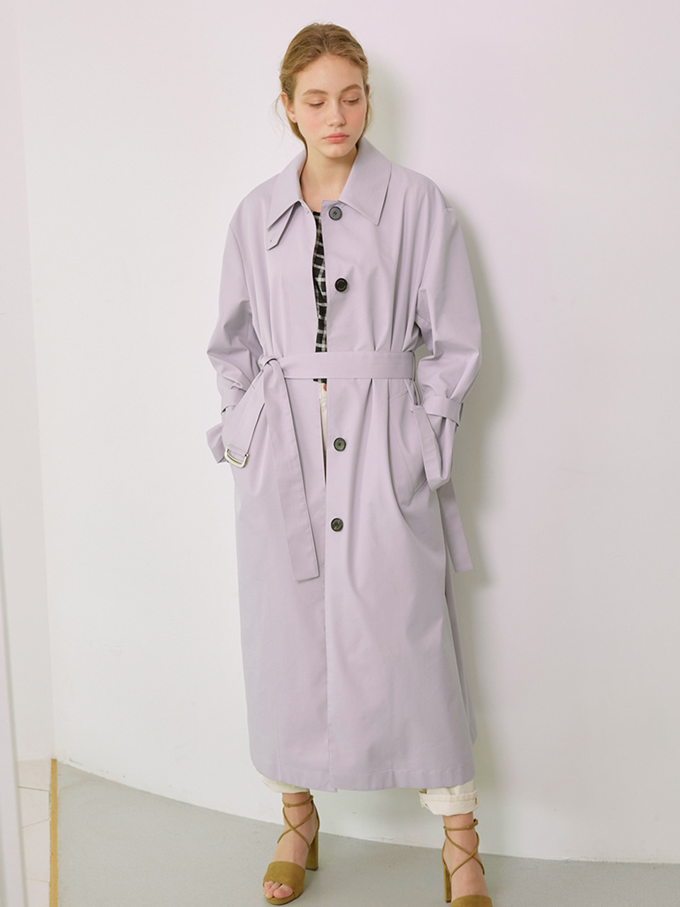 [Low in stock]MIA_Single Breasted Long Trench Coat_Lavender
