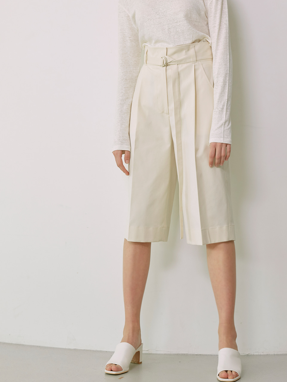 KEILY_High Waisted Bermuda Pants_Cream
