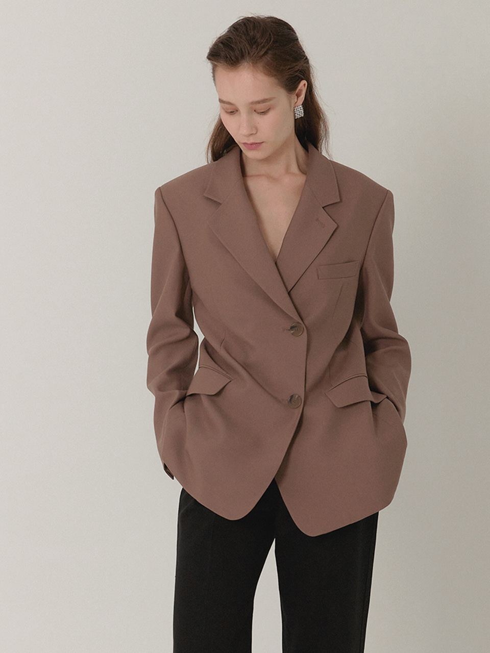 AMBER Classic Tailored Half Double Jacket_DUST COCOA