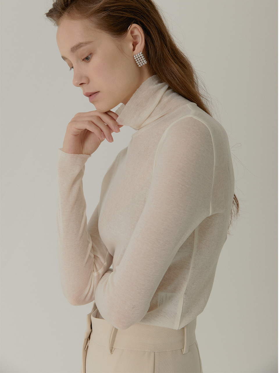 ERICA Sheer Wool Turtle Neck_IVORY