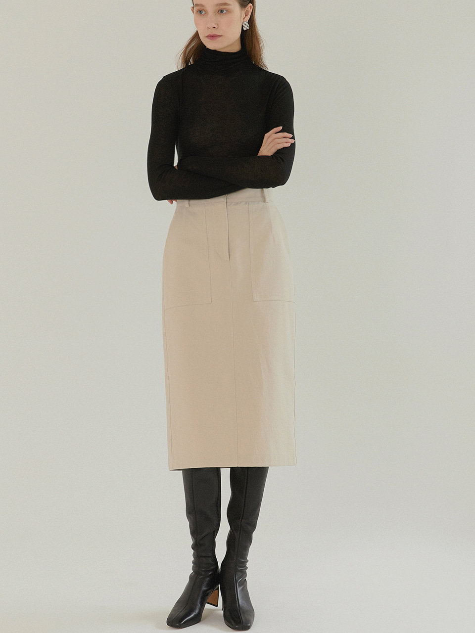 JESS_Cotton Twill Straight Midi Skirt_SAND BEIGE
