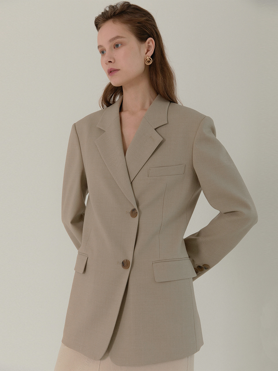 [재입고]AMBER Classic Tailored Half Double Jacket_SAND BEIGE