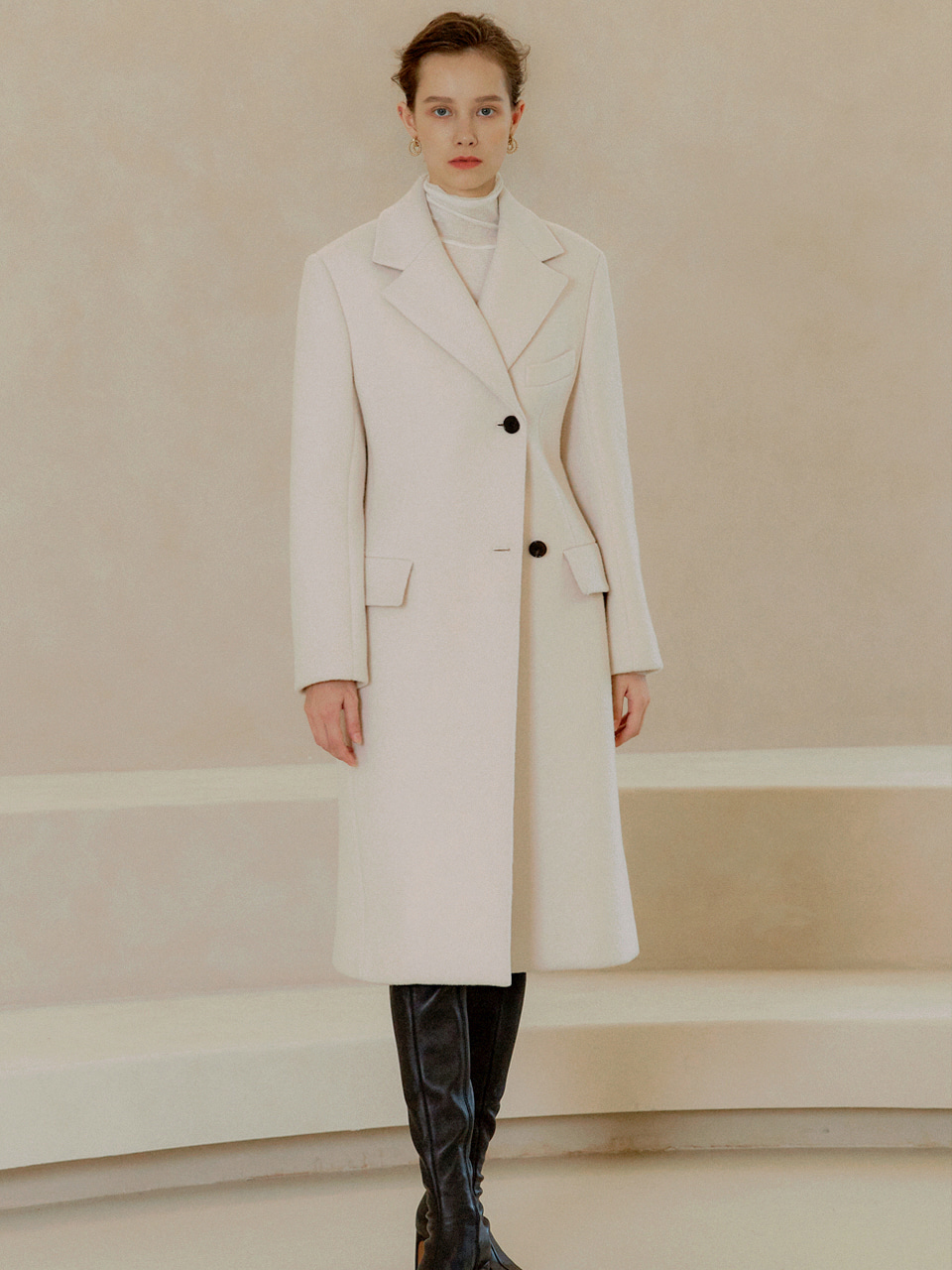 CHLOE Hour Glass-Fit Semi Double Slim Coat_Ivory