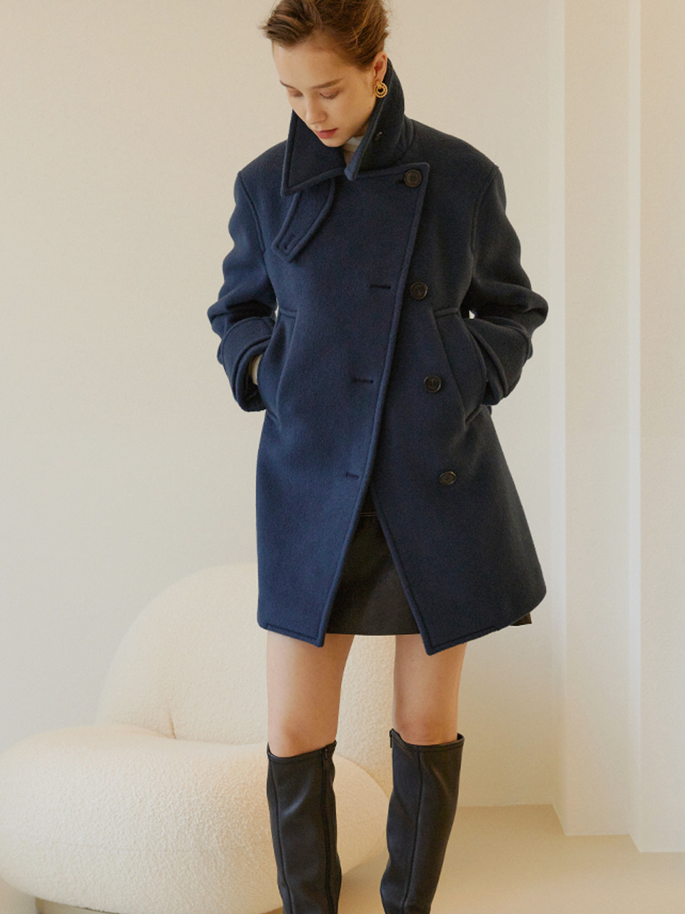 MAYA Double Breast Half Pea Coat_Midnight Blue
