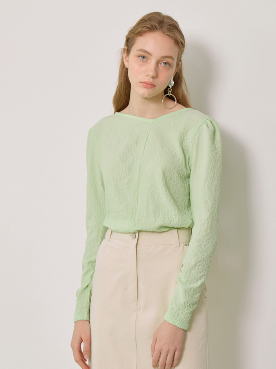 DARIA_Unblanced Neck Blouse_ Mint