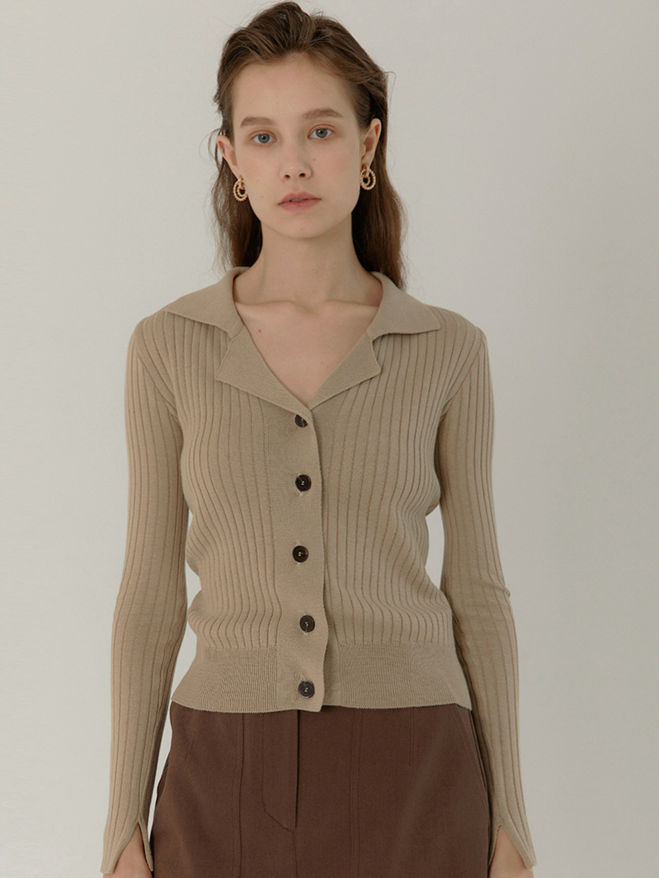 GRETA Slim Fit Ribbed Cardigan_ALMOND BEIGE